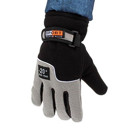 Hatop Mens Winter Outdoor Sports Ski Snowboard Motorcycle Waterproof Adjustable Warm Gloves (Black)