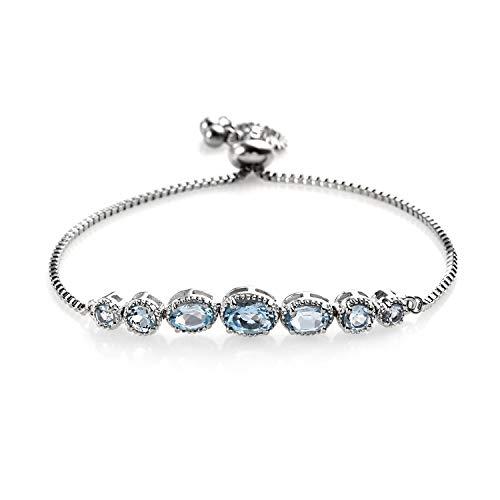 (Shop LC Delivering Joy Oval Sky Blue Topaz Adjustable Sliding Bolo Tennis Bracelet Jewelry for Women Classic Jewelry Ct 2.4 )