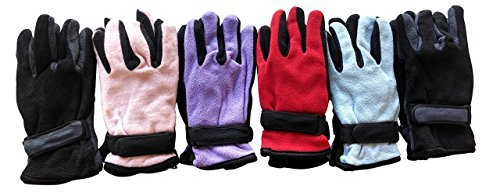 excell Woman's Warm Winter Fleece Gloves,Assorted,One Size (6 Pairs Assorted)