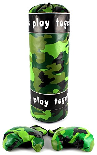 Jungle Camo Boxing Children's Pretend Play Toy Boxing Play Set w/ Stuffed Punching Bag, Pair of Soft Padded Boxing Gloves, Kids