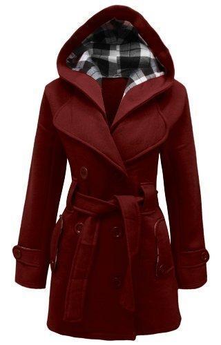 Amber cappuccio rosso pile da trench taglie e 36 con militare vivo 54 stile Apparel donna in Cappotto cintura giacca TOrnTWzq
