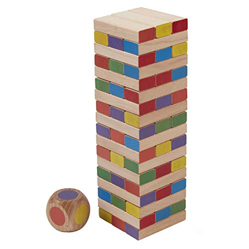 "ECR4Kids Risky Rainbow Tumble Tower for Kids, Wood Stacking Block Game with Colorful Dice and Storage Bag, Junior 10"" Tall (54-Piece Set)"