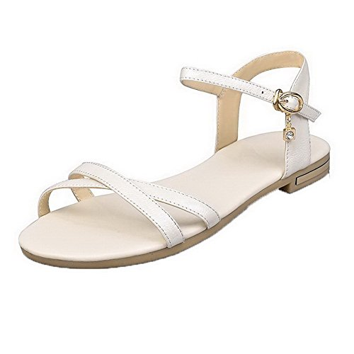 Solid Sandals AalarDom Low Buckle Womens Open Heels Toe Beige PU Rfq6R0