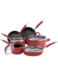 Rachael Ray Porcelain Enamel Nonstick 10-Piece Cookware Set, Red