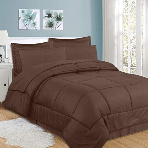 Collection 8 Piece Set - Sweet Home Collection 8 Piece Comforter Set Bag Design, Bed Sheets, 2 Pillowcases, 2 Shams Down Alternative All Season Warmth, Queen, Checkered Chocolate