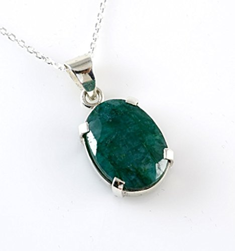 Emerald Circle Pendant - Sterling Silver Oval Genuine Faceted Green Emerald May Birthstone Heart Chakra Handmade Pendant 16+2'' Chain
