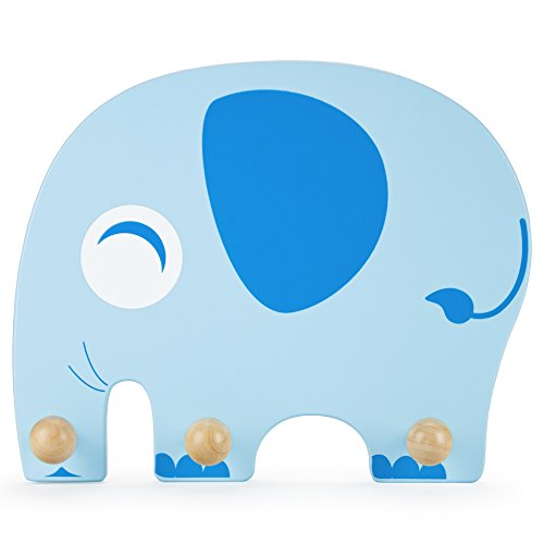 Imagination Generation Wooden Elephant Kids Clothing Rack - Natural Wood Wall Mount Plaque for Children