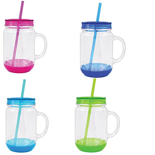 Mason Jar with Lid Plastic Tumbler Drinking Cup Mug with Straw 18 oz - Set of 4 Assorted Colors -