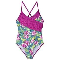 Hilor Girls One Piece Bikini Swimwear Ruffle Swimsuits Cross Back Bathing Suits For Kid