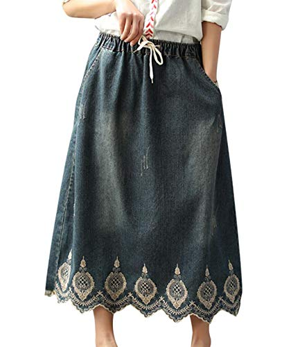 Women Casual Loose Swing Denim Skirts Embroidery Fringed Sawtooth Hemline/Pockets - Denim Fringed