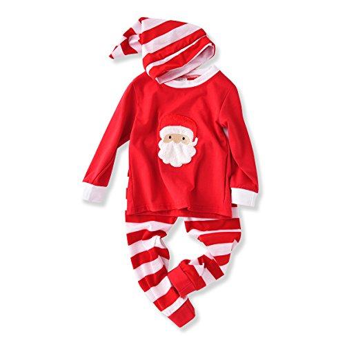 Baby Unisex Outfits Xmas Pajamas Sets Tshirt+Pant+Hat Sleep Suit
