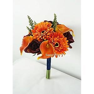 Sweet Home Deco 13'' Silk Artificial Gerbera Daisy Flower Bunch (W/ 7stems, 7 Flower Heads) Home/Wedding (Orange) 5