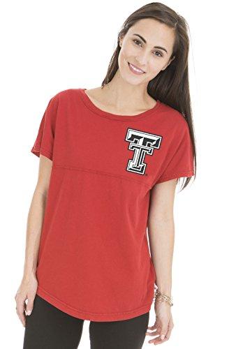 NCAA Texas Tech Red Raiders Women's Callie Short Sleeve Football Tee, Large, Red