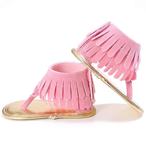 Zapatos de bebé, Switchali Recién nacido bebe niña verano Niños Cuna Suela blanda Antideslizante Sandalias Zapatillas niñas vestir floral borla casual moda Calzado Rosado