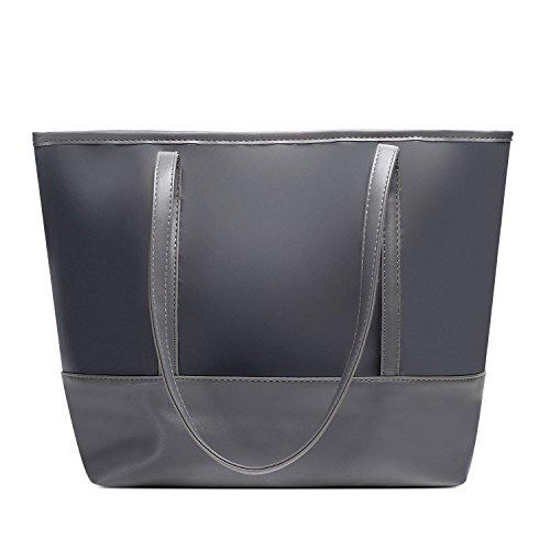 Vintga Large Fashion Totes Bag Shoulder Bag Top Handle Satchel Handbag Purse for Women (Gray Splicing) by Vintga