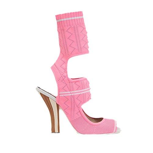 Boots mujer Botas casual fiesta Toe moda de Zapatos Club Comfort Heel Stiletto Spring Peep Zapatos Gladiator para Rosado caminar para GAOLIXIA Shoes de Fall 4PxqCwp