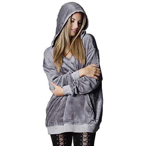 (HYIRI Womens Hooded Soft Velvet Hoodie Oversize Coat)