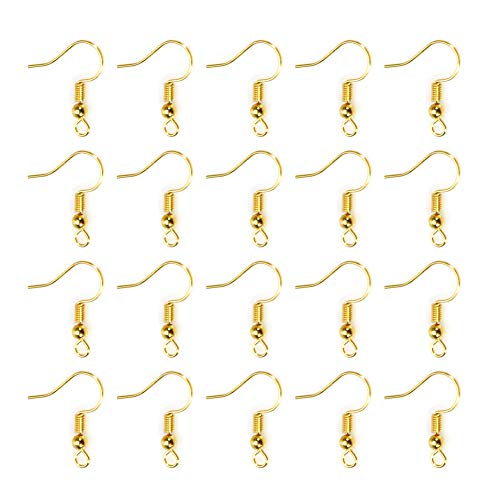 TOAOB 100pcs Earring Hooks Ear Wires with Ball and Coil Gold Tone Hypo-allergenic Fish Earring Hooks 18mm for DIY Jewelry Findings