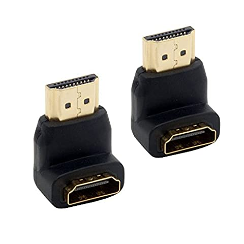 Right Angled HDMI Adapters Gold Plated Connectors Male to Female Sockets Support Resolutions 4K UHD 3D for HDTV TFT LCD Monitors (Pack of 2) (90 (Left Behind On Blu Ray)