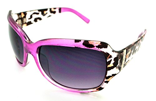 VOX Trendy Classic Womens Hot Fashion Sunglasses w/FREE Microfiber Pouch - Pink Cheetah Frame - Smoke Lens