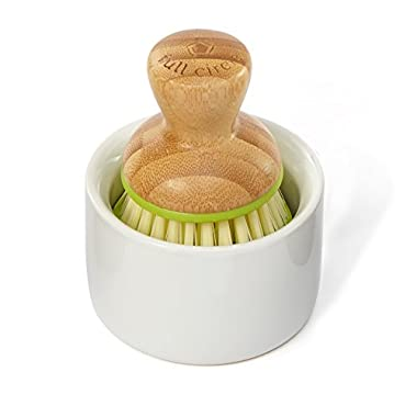 Full Circle Bubble Up Ceramic Soap Dispenser & Dish Brush w Bamboo Handle, Green/White