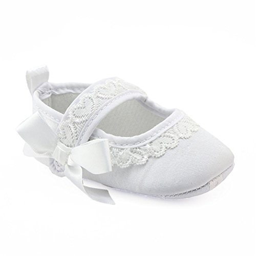 Mallcat Crib Shoes Baby Girls Crib Shoes Soft Sole Sneakers (11, White)