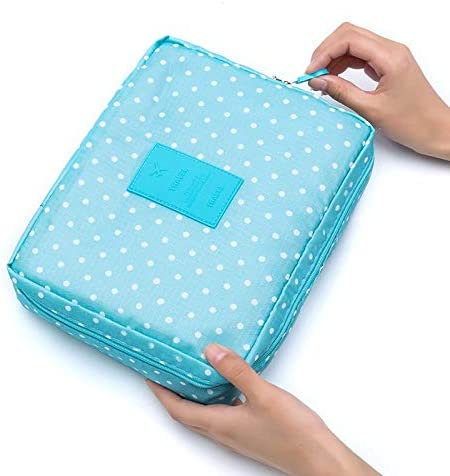 HTBG 女性のメイクアップバッグ化粧バッグケースメイクアップオーガナイザートイレタリーストレージNeceser急い花ナイロンジッパー新しい旅行ウォッシュポーチ (Color : Sky blue)