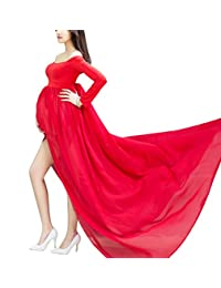 Maternity Sleeved Photography Dress Split Front Off shoulder Gowns with Underwear