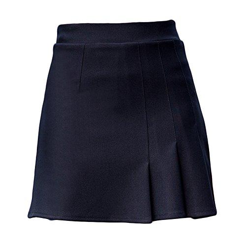 ZiXing Mini Noir Courte Skirt Dames Taille Cocktail Mini Jupes Femmes Solide Haute FTe t Jupes Patineuse TrwxY1Bqfr