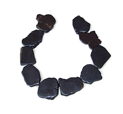 Black Magnesite Slab Stone Beads - Gemstone - 30mm to 35mm - 15 inch Strand