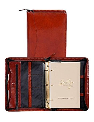 Scully Leather Zip Weekly Planner Italian Leather 8053Z Organizer,Cognac