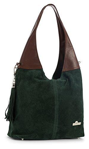 LIATALIA Womens Girls Genuine Italian Suede and Soft Leather Hobo Shopper Shoulder Tote Handbag - AGNES [Deep Green - Brown Trim]