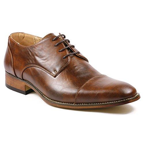 Faux Leather Shoes (UVS Men's Cap Toe Lace Up Oxford Dress Shoes (11,)