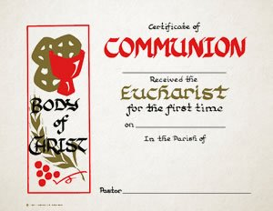 Certificate - Communion Body of Christ (6 Pack)