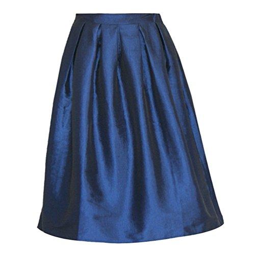 Alto Gonna 50 Vita Pieghe Swing Campana A Linnuo Ruota Anni Size Gonne Midi Plus Donna Line Vintage Blu Svasata FXWwPdqg
