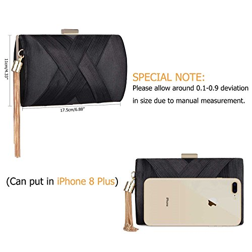 Prom Purse 2018 Black Spring Evening Night Women's Wedding Bride Out Elegant for Bag Clutch Party Tassel xpfqgSfnw
