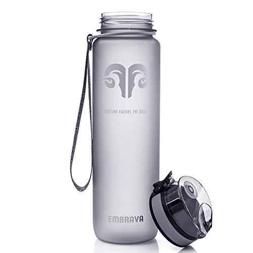 Embrava Best Sports Water Bottle - 32oz Large - No Box Edition - Fast Flow, Flip Top Leak Proof Lid