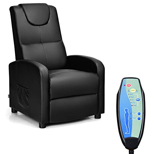 - Giantex Massage Recliner Chair Single, Padded Seat Cushion and Foldable Footrest, PU Leather, Remote Control, Home Theater Seating, Modern Lounge Chaise, Living Room Office Recliner (Black)