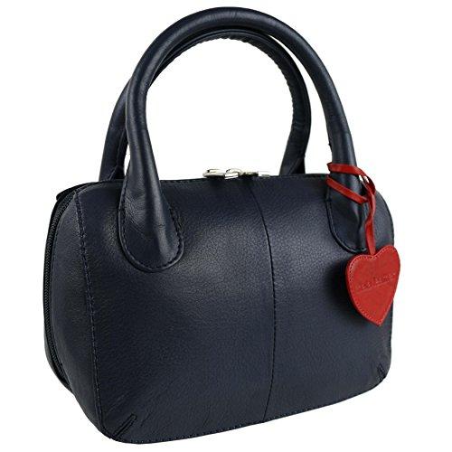 Blu a donna Borsa Mala Blue Leather Blu mano RTqUxBw