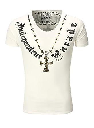 Key Largo T-Shirt T Independent V-Neck Kreuz Nieten Print weiß M