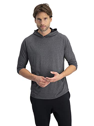 Pullover Sleeve 3/4 (3/4 Sleeve Lightweight Hoodie Men - Dry Fit Workout Hoodies for Gym and Running Charcoal)