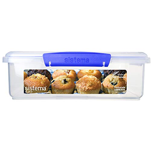 Sistema KLIP IT Utility Collection Bakery Box Food Storage Container, 14.8 Cup, Clear/Blue | BPA Free