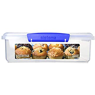 Sistema KLIP IT Utility Collection Bakery Box Food Storage Container, 14.8 Cup, Clear/Blue   BPA Free