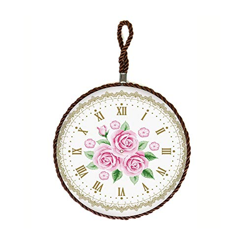Housewarming Gift from Friend Vintage Clock Face Roses Roman Numbers Antique Vintage Decorative Stone Trivet for Teapot/Hot Pot Holders,Set of 3,Round 6.3 Inch Light Pink Green Dark Khaki