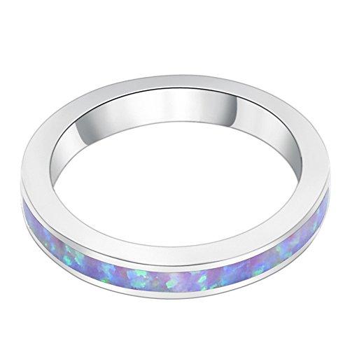 Sinlifu Eternity Ring Australia Fire Opal Silver Plated 3.5mm Wedding Band Jewelry for Women (Purple, 6)