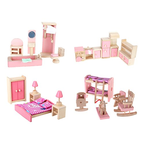 (4 Set Dollhouse Furniture Kid Toy Bathroom Kid Room Bedroom Kitchen Set)