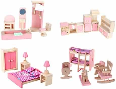 4 Set Dollhouse Furniture Kid Toy Bathroom Kid Room Bedroom Kitchen Set