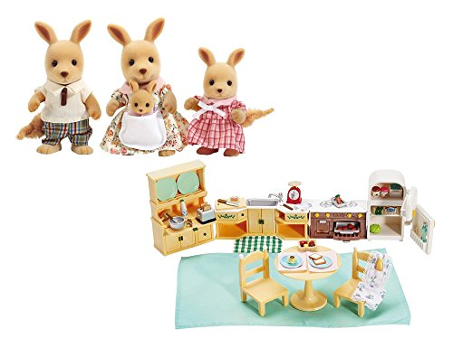 Calico Critters Hopper Kangaroo Family Set and Calico Critters Kozy Kitchen Set bundled by Maven Gifts