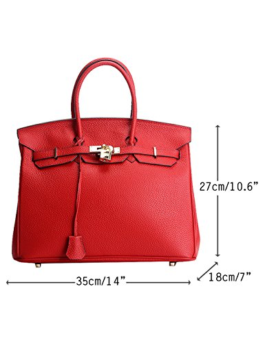 Menschwear Damen Echtes Leder Handtasche Elegant Taschen 25cm Schwarz Rot L ONYtxO0