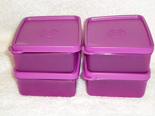 Tupperware Square Away Mini Snack Set 4pc in Purple